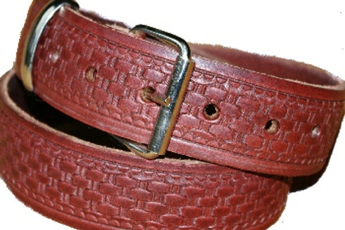 Chestnut Cross Basketweave Pattern Embossed 38mm Belt