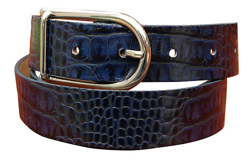 Real Leather 30mm Blue Crock Pattern Belt