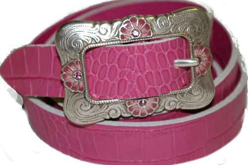 Pink Crock Finish Belt with Square pink Flower Buckle1 Inch 25mm