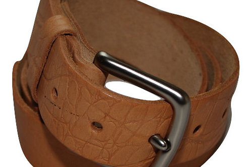 34mm Tan Crock Real Leather Belt