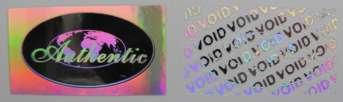 2514MMS1 - 25MM X 14MM RECTANGULAR SILVER HOLOGRAM LABEL