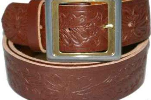 Brown Leaf Pattern Belt Buckled 38mm