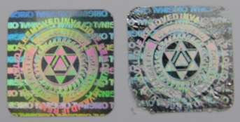 14MMS1 - 14MM SQUARE SILVER HOLOGRAM LABEL
