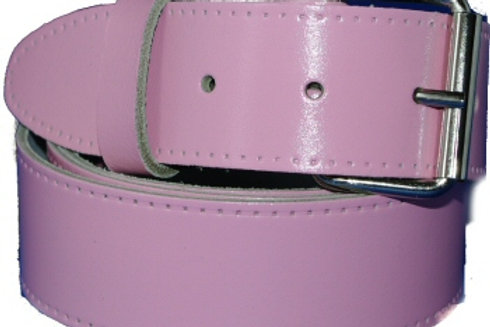 Baby Pink Leather Belt 1.5 Inch 38mm Wide