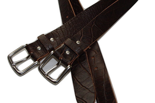 34mm Brown Crock Design Belt Real leather