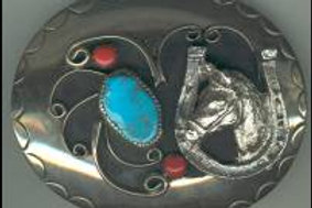 HORSES BUCKLE SILVER TURQUISE