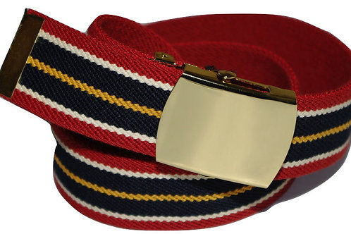 Elasticated Belt Red Striped Comfort Fit Style