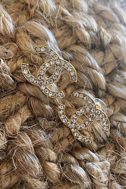 Gold Diamond CC Earrings