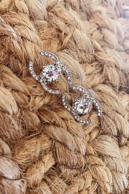 Silver Diamond CC Earrings