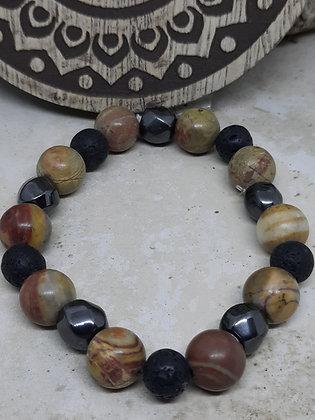 Hematite, Lava Stone, and Chinese Jasper Bracelet