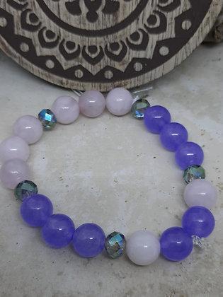 Purple Jade, Rose Quartz, Swarovski Crystal Bracelet