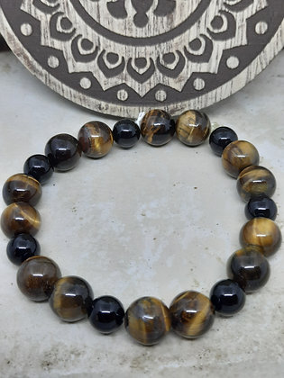 Tiger Eye and Onyx Bracelet