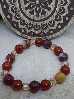 Carnelian, Yellow Jade,and Red Tiger Eye Bracelet