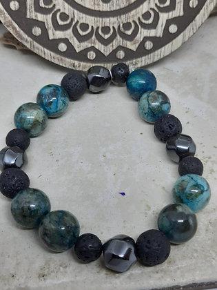 Hematite, Apatite, and Lava Stone Bracelet