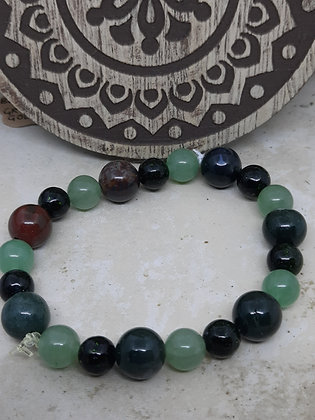 Adventurine, Greenstone, and Bloodstone Bracelet
