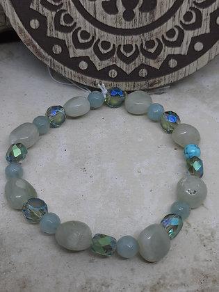 Green Jade, Aquamarine, Swarovski Crystal Bracelet
