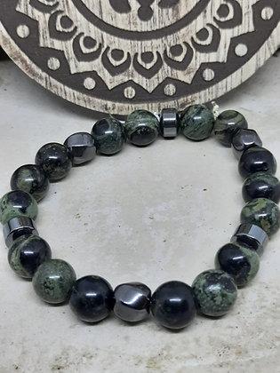 Hematite and Kambaba Jasper Bracelet