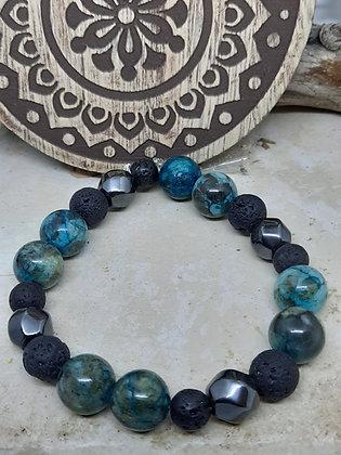 Apatite, Hematite, and Lava Stone Bracelet