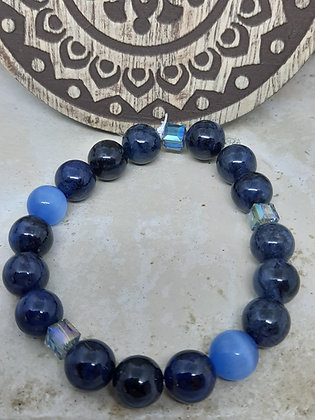 Blue Cat's Eye and Dumortierite Bracelet
