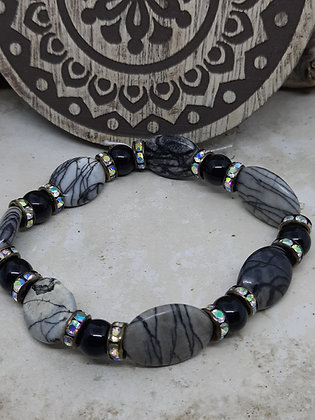 Gray Rutilated Quartz Bracelet