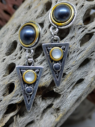 Bohemian Obsidian and Moonstone Earrings