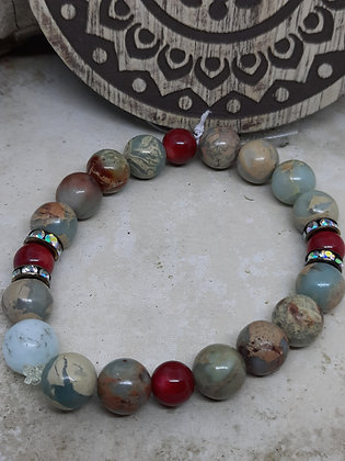 Red Coral and Amazonite Bracelet