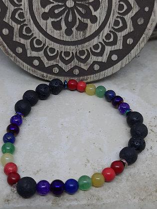 Chakra Stone and Lava Stone Bracelet