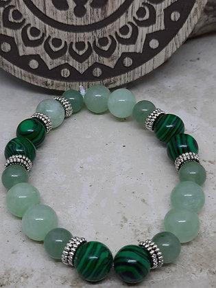 Malachite, Green Jade, and Adventurine Bracelet