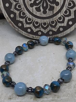 Aquamarine and Imperial Jasper Bracelet