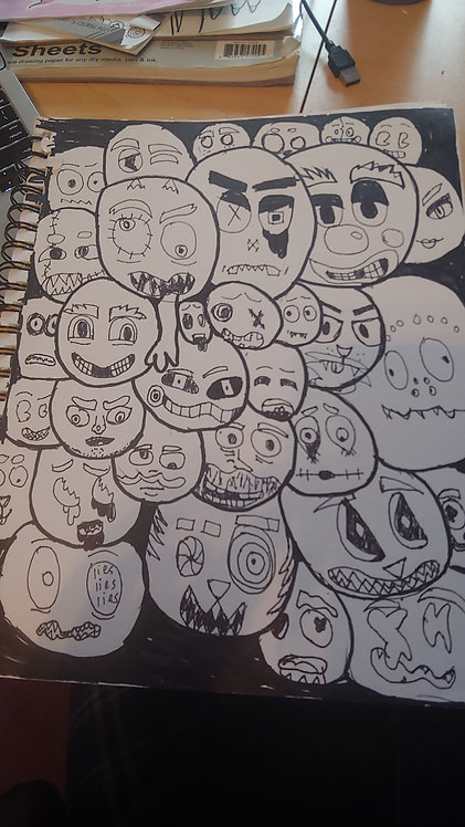Many Faces Drawing