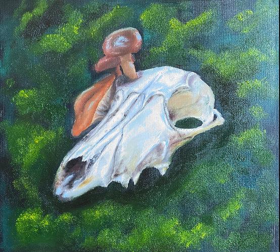 Oil on Canvas Skull Painting