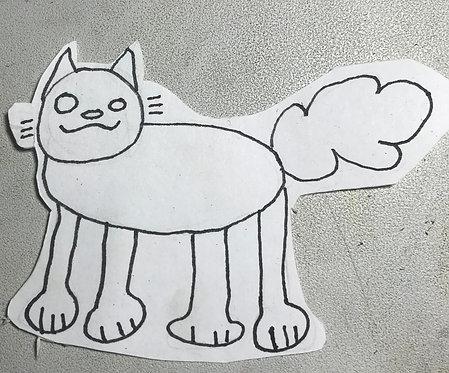Plain Funky Cat Sticker
