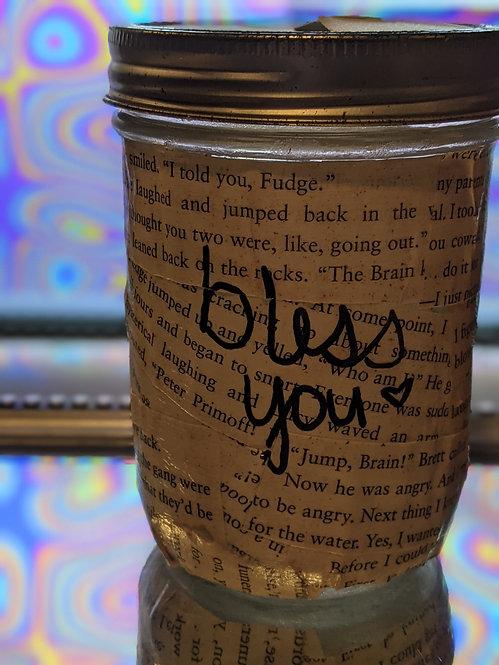 """Large """"Bless You"""" Mason Jar Tissue Holder"""