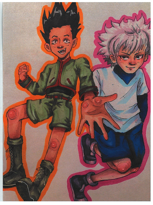 Student original artwork of Gon and killua