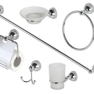 Set accessori bagno cromo-vetro