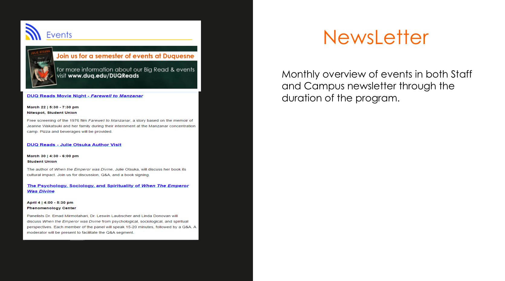 Slide on the newsletter promotion