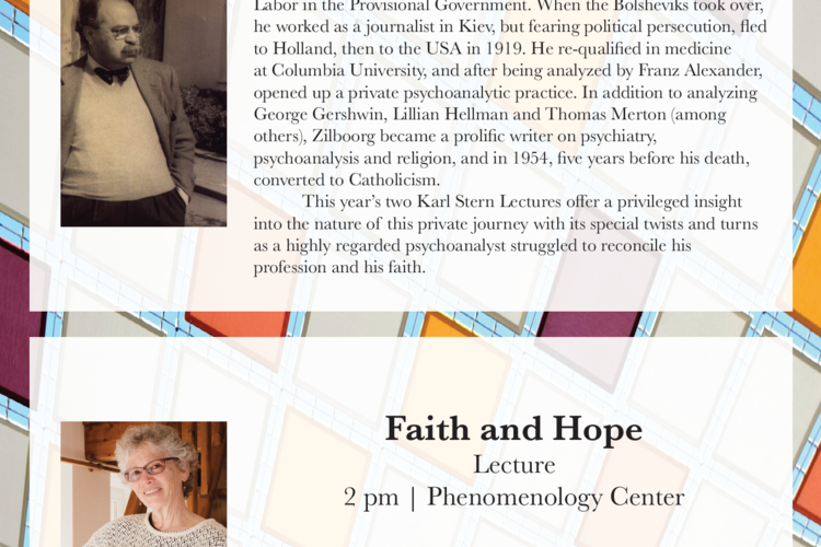 Annual Karl Stern Lecture sign for the Phenomenology Center at Gumberg Library