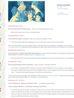 Pride & Prejudice: A 200 Year Affair exhibit website events page