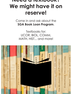 SGA Textbook Loan Program sign