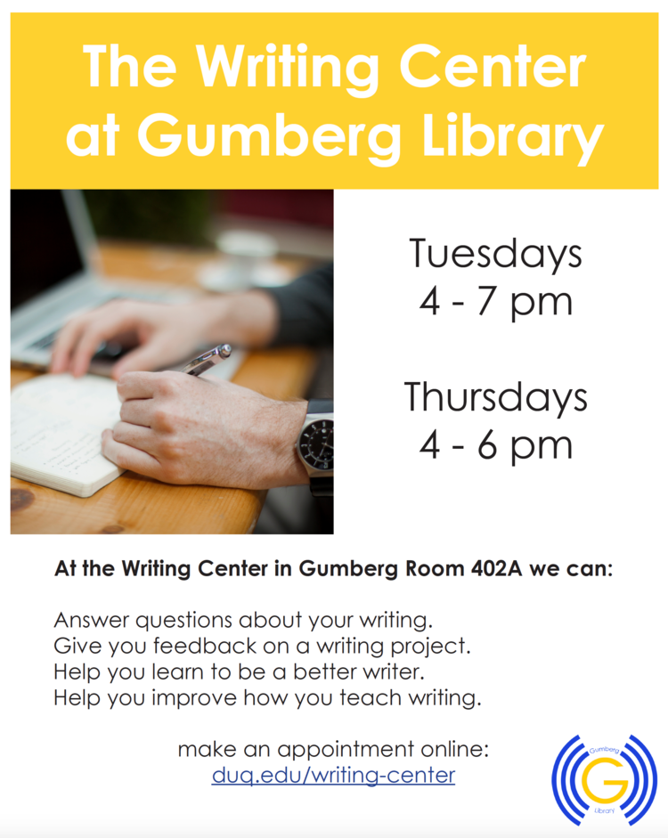The Writing Center at Gumberg Library sign