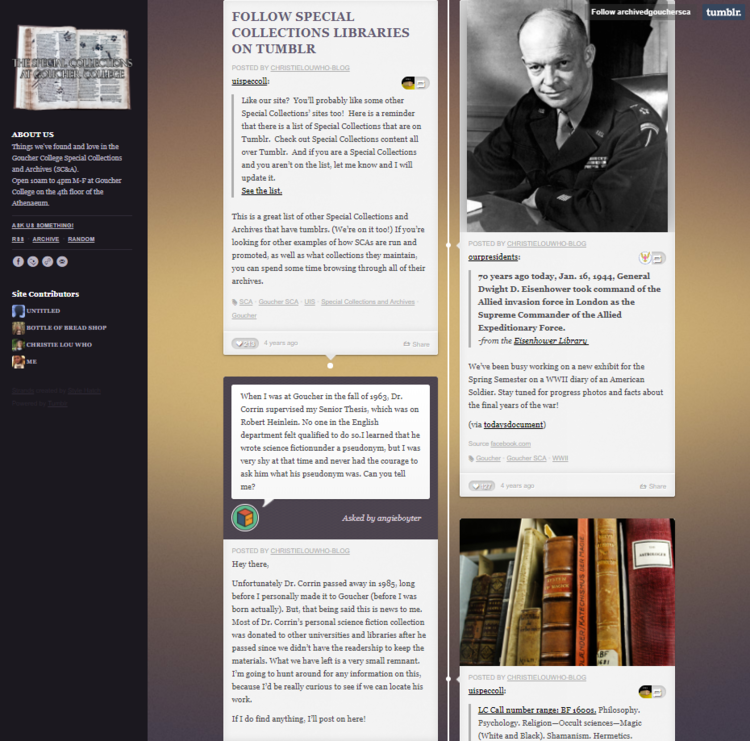 Screenshot of the tumblr page