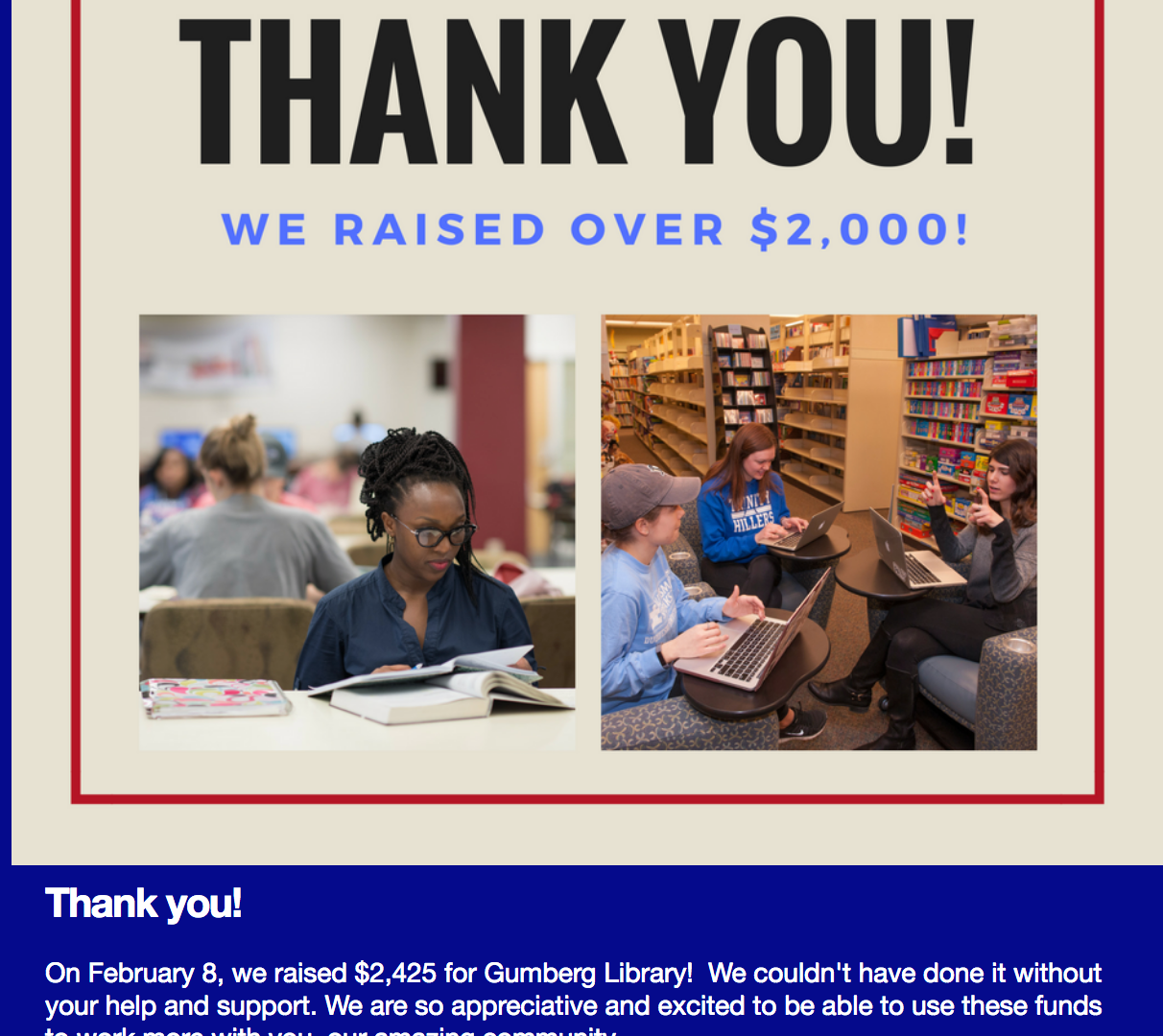 Day of Giving newsletter thank you