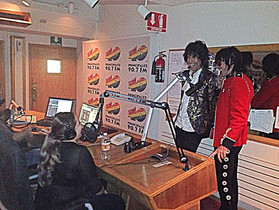 Mick and Keith on Radio show in Tijuana, Mexico