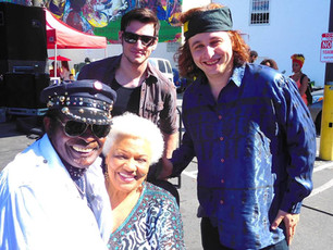 left to right: Willie Chambers, Barbara Morrison, me and Crazy Tomes