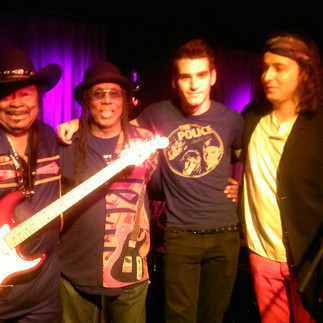 left to right: Guitar Shorty, Michael Beholden, Jon McCracken, and Crazy Tomes