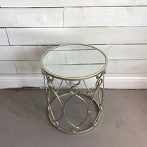 Brushed nickel mirrored table