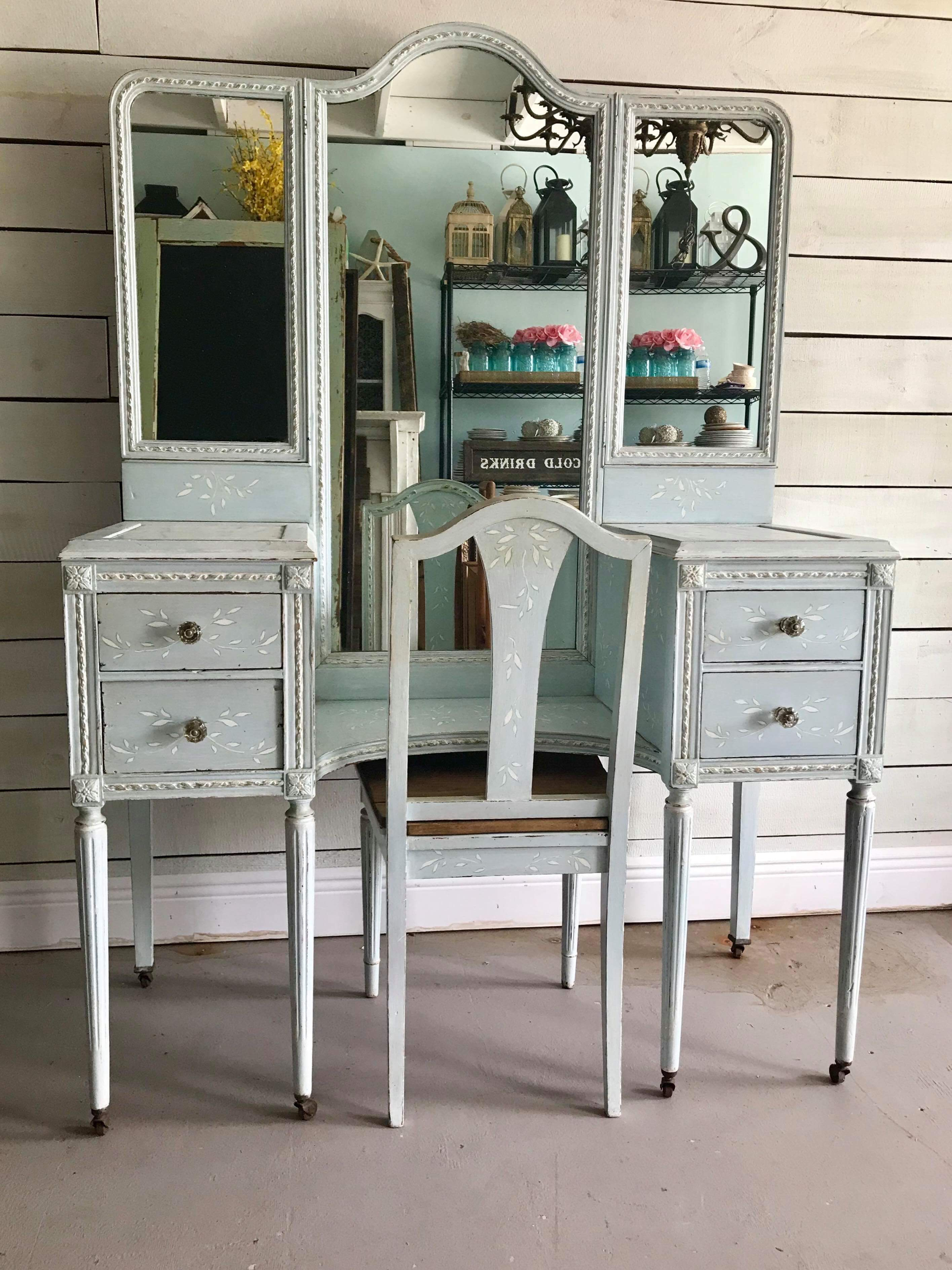Blue Vanity with mirror