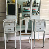 Blue Vanity with Mirror