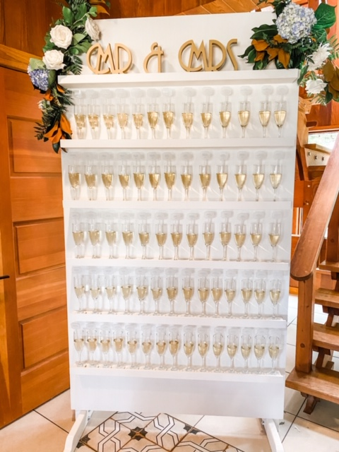 White Champagne Wall (shelves fit champagne glasses, white claws, beers mugs, rocks glasses, ect.)