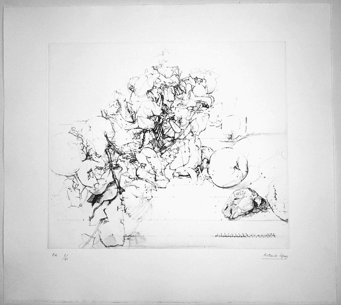 Quinces, Pomegranates and Rabbit's Head, 2011, Etching, aquatint and soft varnish on copper plate. Gravar Art Paper 320 gr. Edition of 60 copies. Plate Mark: 45.5 x 52.5 cm. Paper: 65 x 72.5 cm.